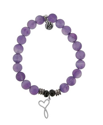 Amethyst Bracelet with Infinity Heart Charm