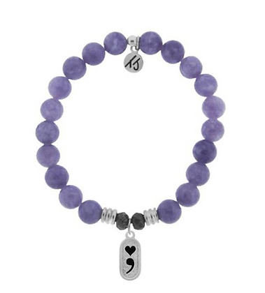 Purple Jade Bracelet with Continue Charm