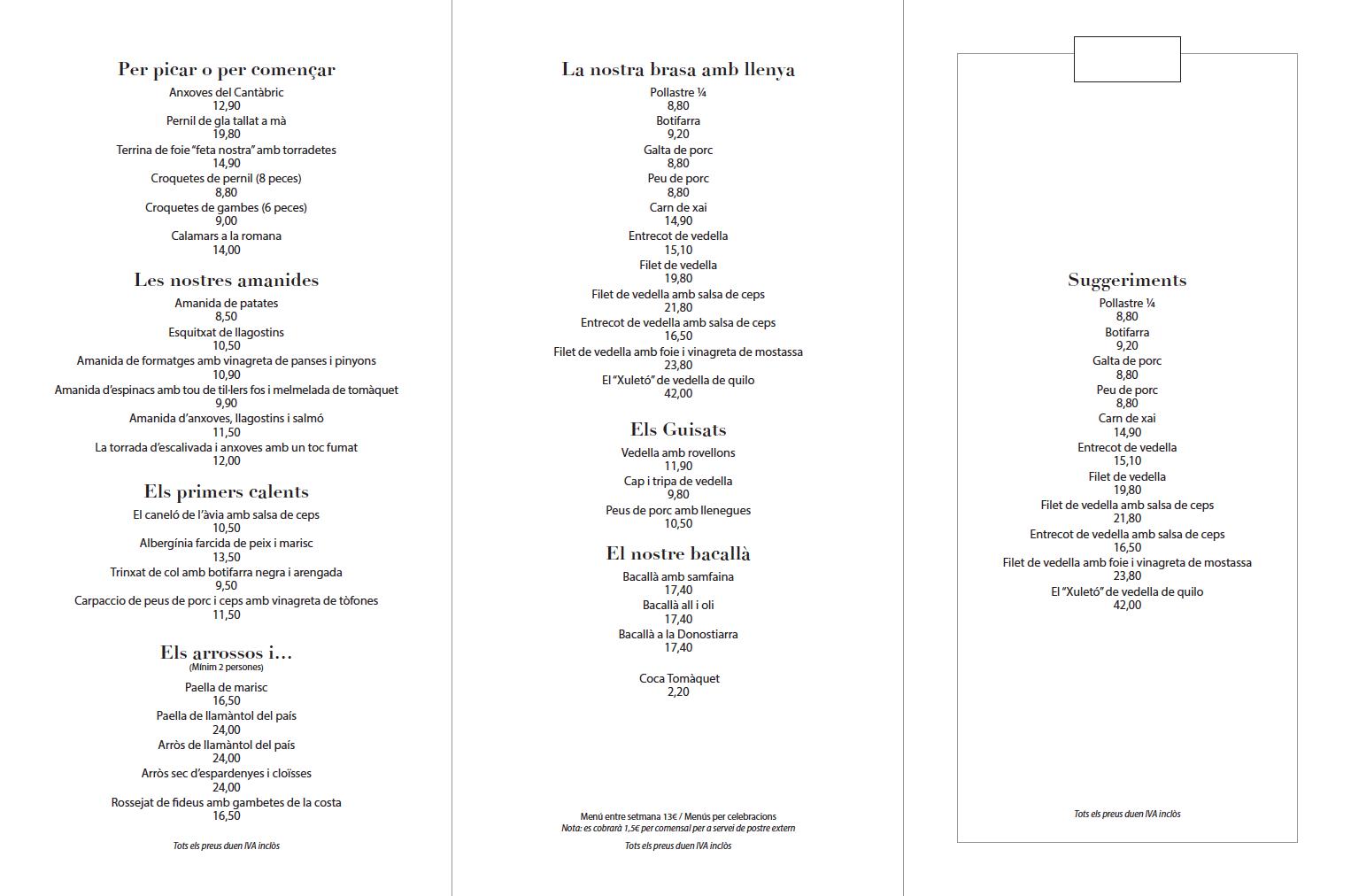 Interior carta restaurante Airesol