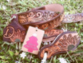 🌻Fully Tooled Belt_🌻Slobber Straps_🌻Cattle Tag Keychain