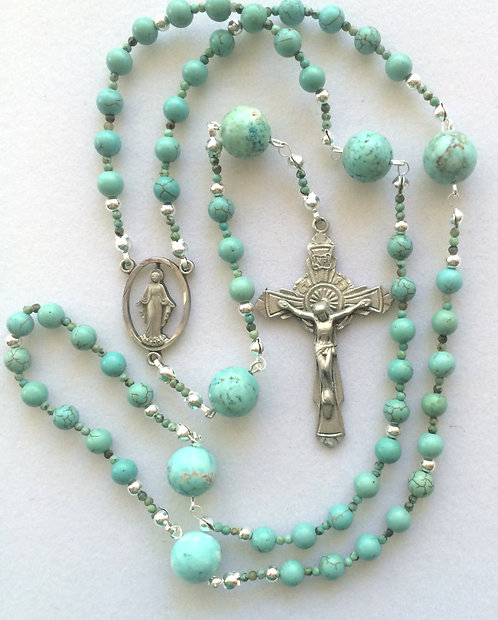 Magnesite and Pewter Rosary