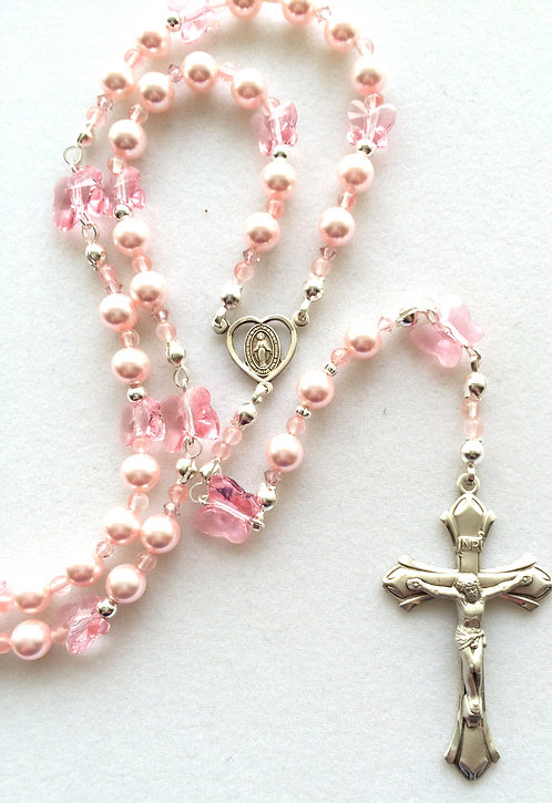 Swarovski Pearl and Crystal Butterfly Rosary