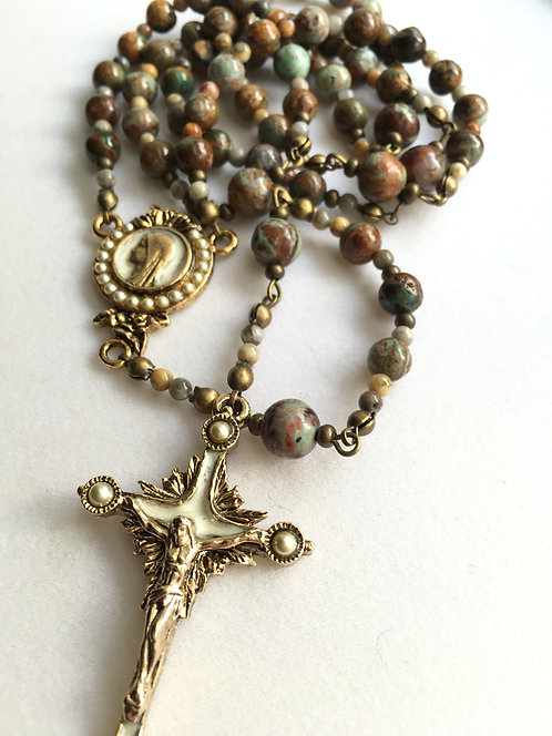 Green Opal Antiqued Rosary