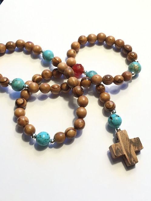 Colorfully accented Holy Land Olive Wood Rosary