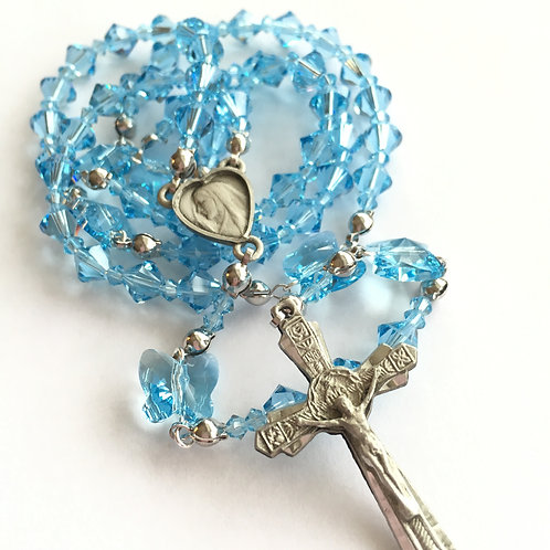 Swarovski Crystal and Pewter Butterfly Rosary