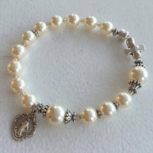 Swarovsi Pearl and Crystal Rosary Bracelet
