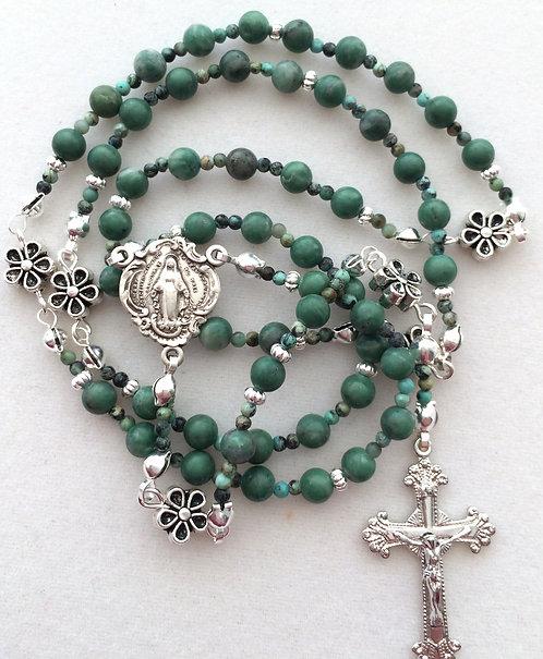 Ching Hai Jade Sterling Silver Rosary