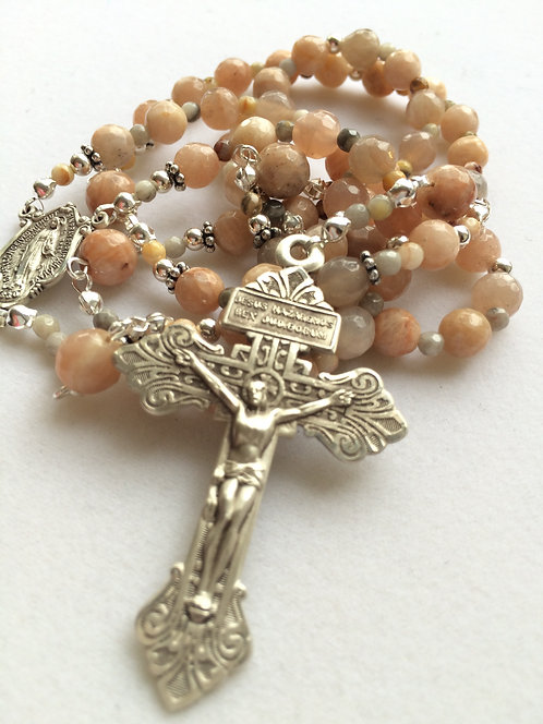 Pink Moonstone Sterling Silver Rosary