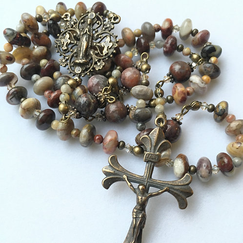 Mexican Lace Agate Antique Bronze Rosary