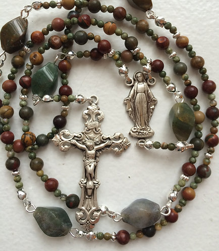 Red Creek Jasper Sterling Silver Rosary