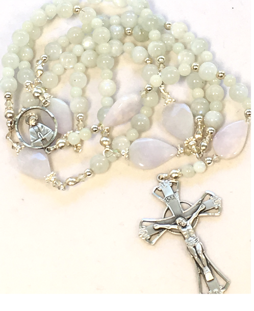 "Sterling Jade ""Tears of Our Lord and Our Lady"" Rosary"