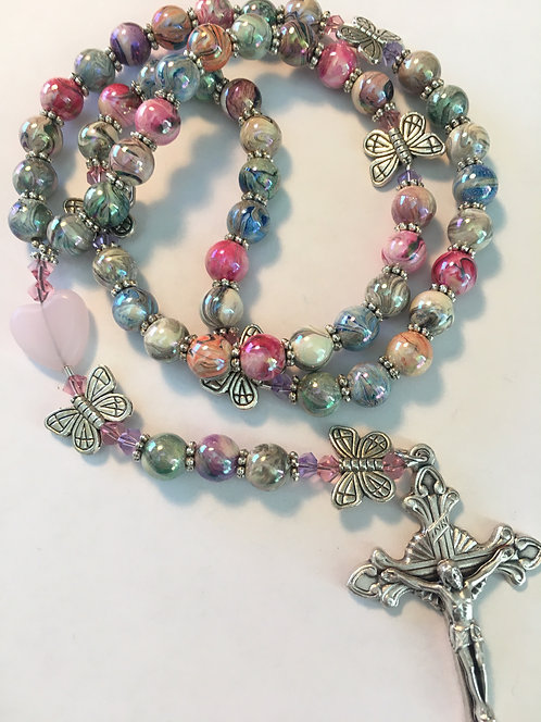 Cheery Butterfly and Hearts Rosary