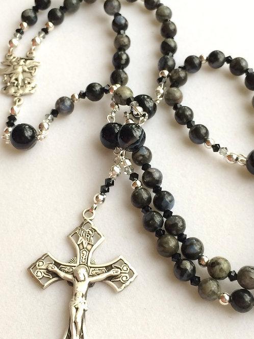 St Michael Labradorite Sterling Silver Rosary