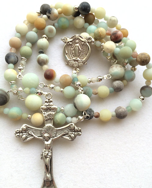 Banded Amazonite (matte) Sterling Silver Rosary