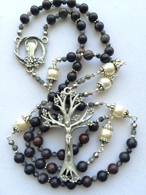 Mustang Jasper and Grey Opal Tree of Life Rosary