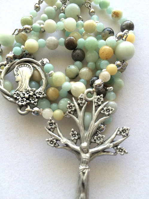 Amazonite (shaded) and Pewter Tree of Life Rosary