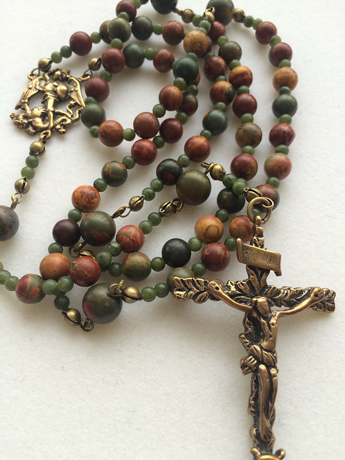 St Michael Antique Bronze Rosary