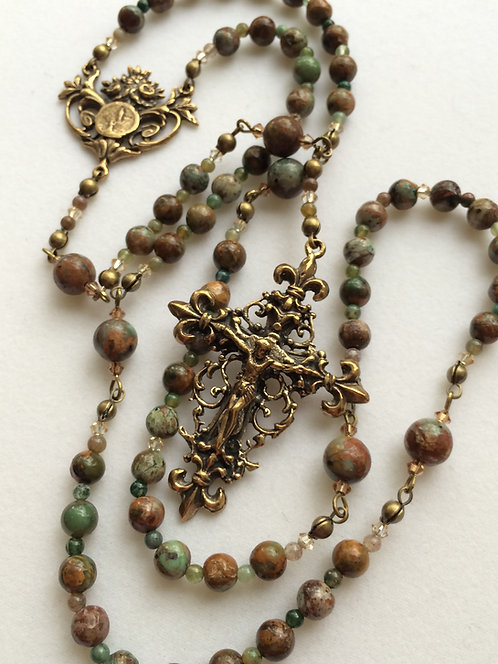 Green Opal Antique Bronze Rosary