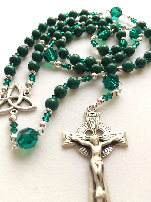 Celtic Mountain Jade and Sterling Silver Rosary