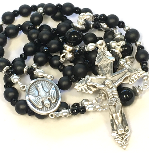 Sterling Onyx Warrior of the Holy Spirit Rosary