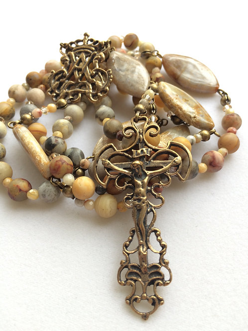 Crazy Lace Agate Antique Bronze Rosary