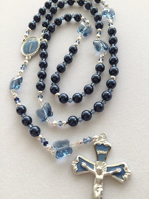 Night Blue Swarovski Butterfly Rosary