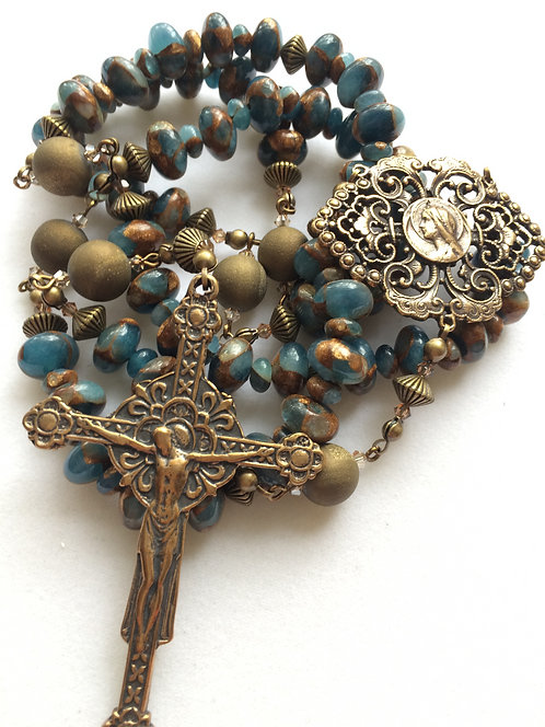 Aqua Quartz Antique Bronze Rosary