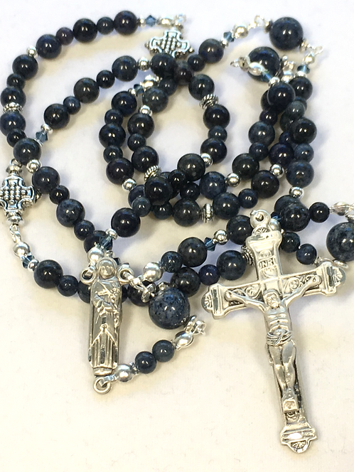 St Joseph Dumortierite and Sterling Rosary