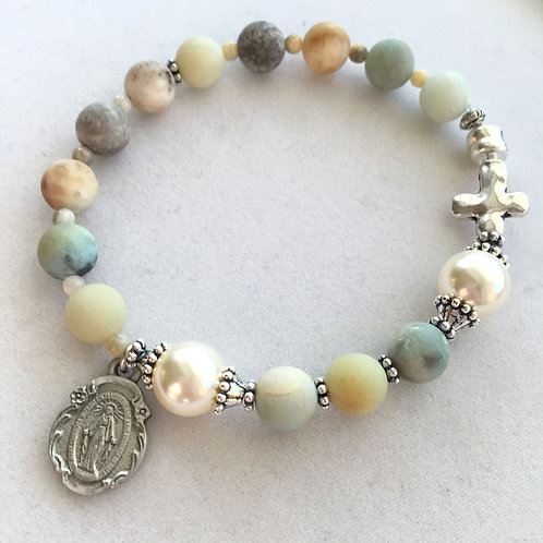 Matte Amazonite Rosary Bracelet