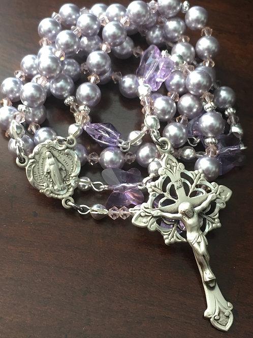 Powder lavender Swarovski butterfly rosary