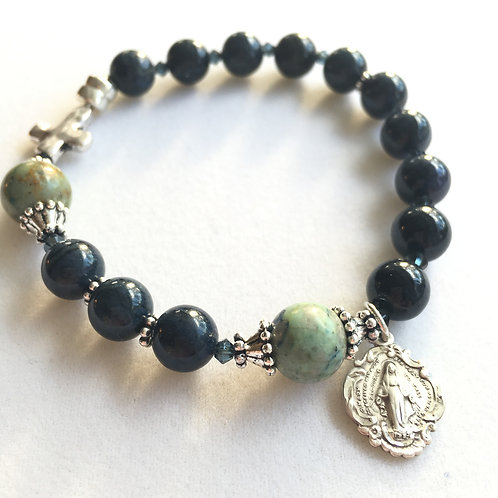 Dumortierite and Chrysocolla Rosary Bracelet