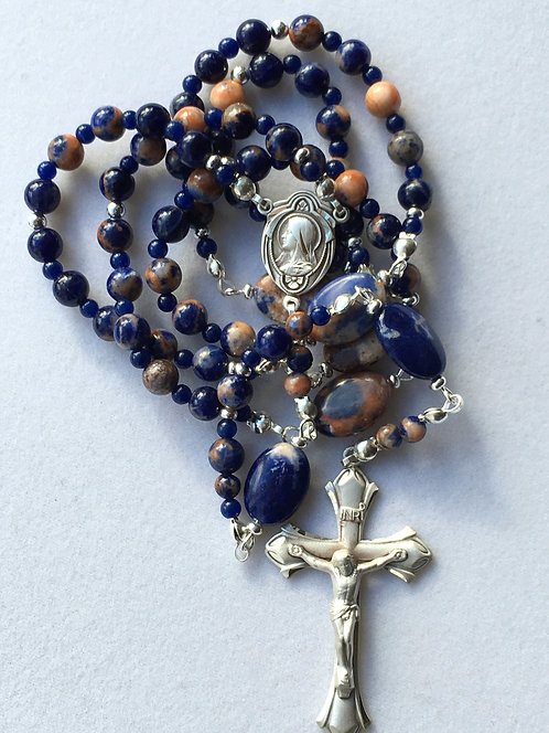 Orange Sodalite and Sterling Rosary