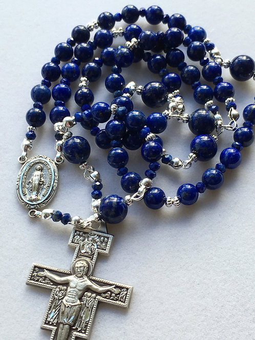 San Damiano Lapis and Sterling Silver Rosary