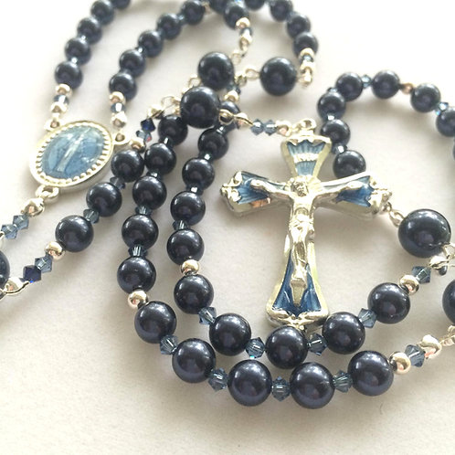 Night Blue Swarovski Pearl Rosary