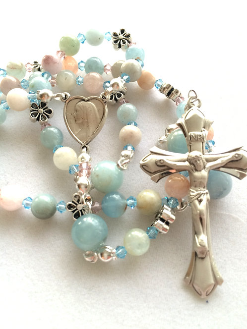 Beryl and Sterling Silver Rosary