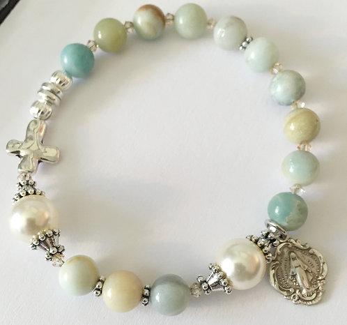 Amazonite and Swarovski Rosary Bracelet