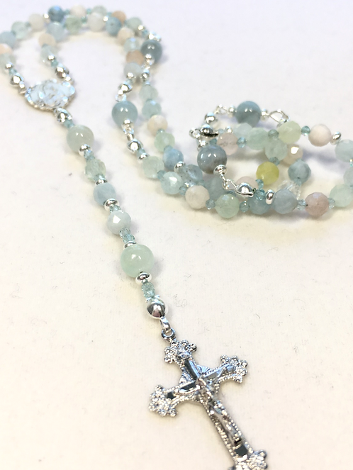 Tiny blue beryl and Sterling rosary