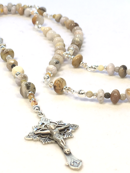 Sterling Agate Dainty Rosary