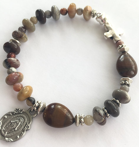 Mexican Lace Agate One Decade Rosary Bracelet