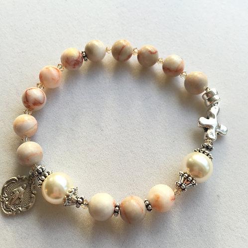 Marble granite and Swarovski rosary bracelet