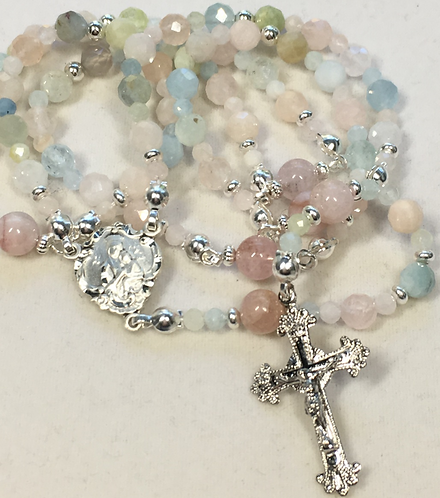 Delicate Pink Beryl and Sterling Rosary