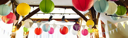 Colourful paper lantens at Northease Manor wedding venue