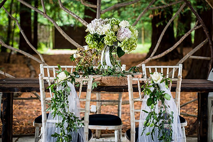 Elegant chair decor - netting and greenery