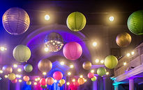 Colourful paper lanterns at St Paul's Worthing wedding venue