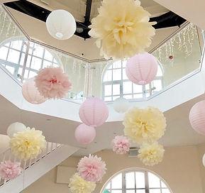 Pastel hanging lantens at The Dome Worthing wedding venue