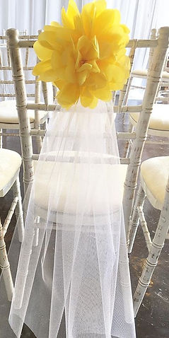 Quirky chair decor - netting and pompom