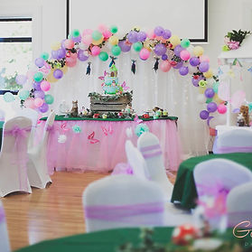 Bespoke balloon arch at 1st Birthday party Fishbourne Hall