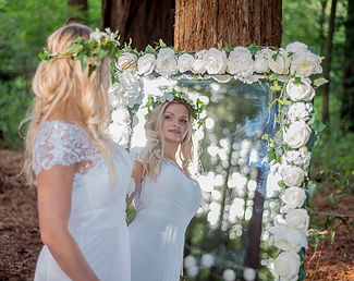White flower mirror for hire - quirky wedding detail at The Two Woods Estate wedding venue