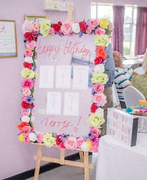 Quirky tableplan idea - bright flower mirror