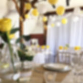 Yellow and white paper lanterns at Nortease Manor wedding venue